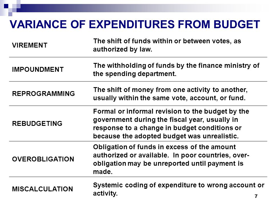 7 VARIANCE OF EXPENDITURES FROM BUDGET VIREMENT The shift of funds within or between votes, as authorized by law.