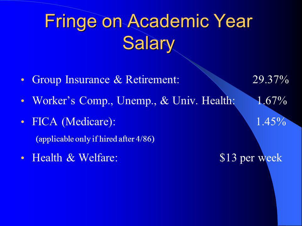 Fringe on Academic Year Salary Group Insurance & Retirement: 29.37% Worker's Comp., Unemp., & Univ.