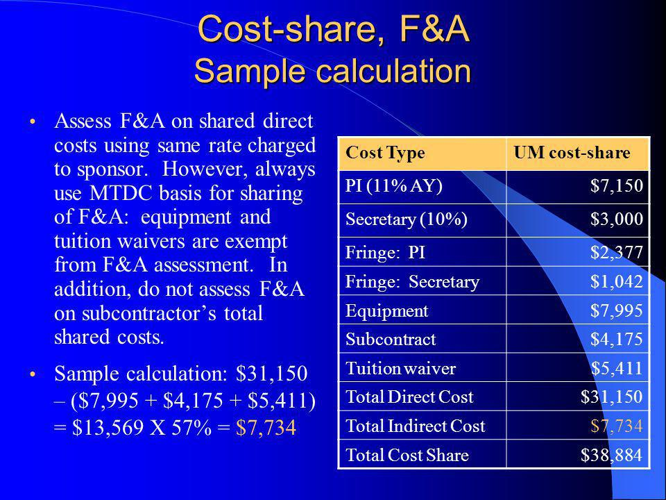 Assess F&A on shared direct costs using same rate charged to sponsor.
