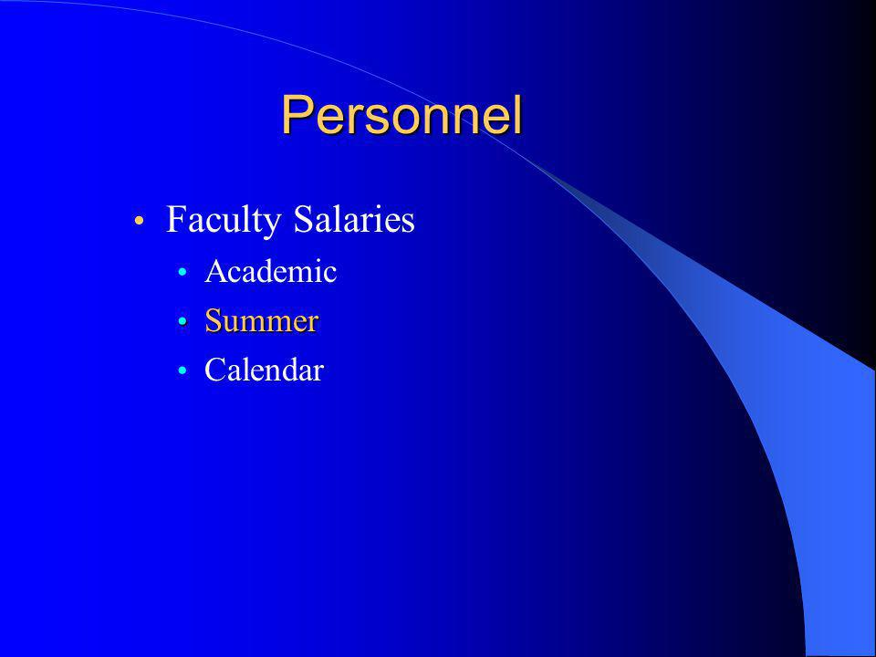 Personnel Faculty Salaries Academic Summer Summer Calendar