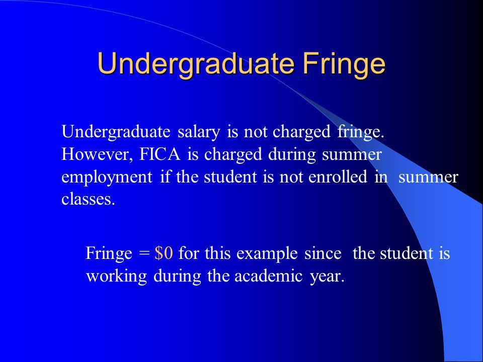 Undergraduate Fringe Undergraduate salary is not charged fringe.