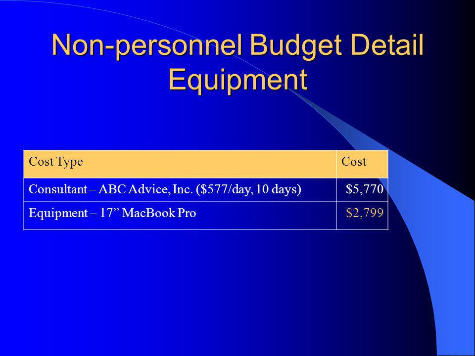 Non-personnel Budget Detail Equipment Cost TypeCost Consultant – ABC Advice, Inc.