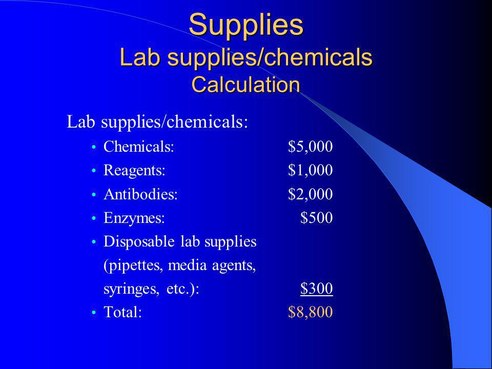 Supplies Lab supplies/chemicals Calculation Lab supplies/chemicals: Chemicals: $5,000 Reagents: $1,000 Antibodies: $2,000 Enzymes: $500 Disposable lab supplies (pipettes, media agents, syringes, etc.): $300 Total: $8,800