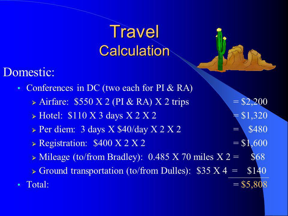 Travel Calculation Domestic: Conferences in DC (two each for PI & RA)  Airfare: $550 X 2 (PI & RA) X 2 trips = $2,200  Hotel: $110 X 3 days X 2 X 2 = $1,320  Per diem: 3 days X $40/day X 2 X 2 = $480  Registration: $400 X 2 X 2 = $1,600  Mileage (to/from Bradley): 0.485 X 70 miles X 2= $68  Ground transportation (to/from Dulles): $35 X 4 = $140 Total: = $5,808