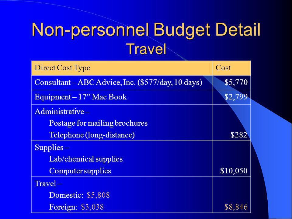 Non-personnel Budget Detail Travel Direct Cost TypeCost Consultant – ABC Advice, Inc.