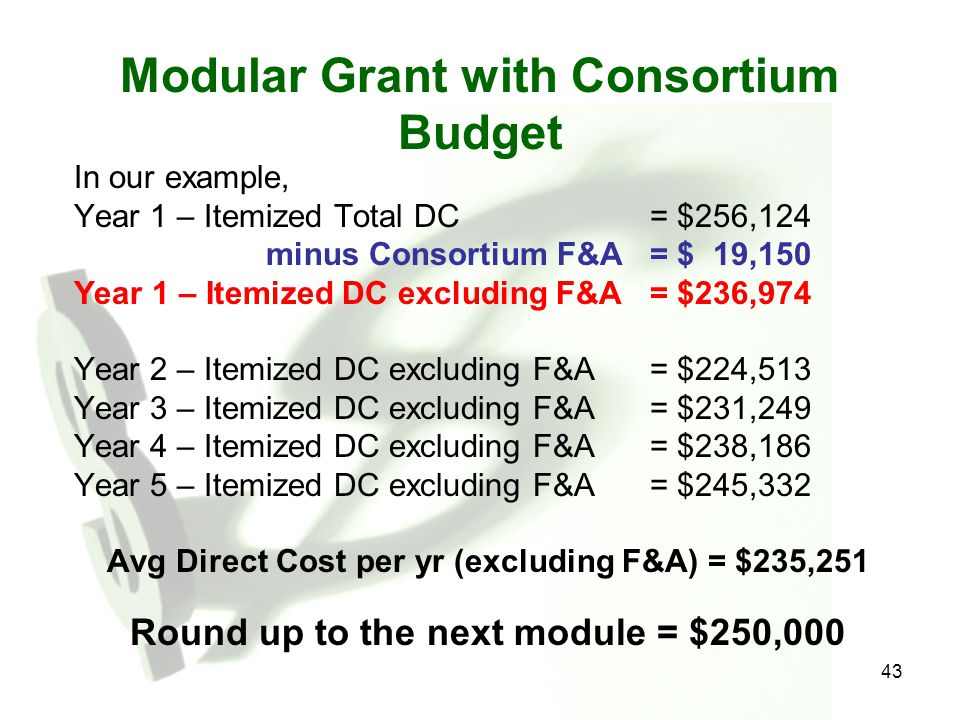 43 Modular Grant with Consortium Budget In our example, Year 1 – Itemized Total DC= $256,124 minus Consortium F&A= $ 19,150 Year 1 – Itemized DC exclu