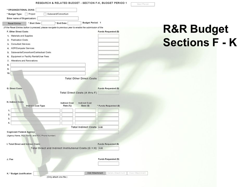 9 R&R Budget Components  4.7.1 A.