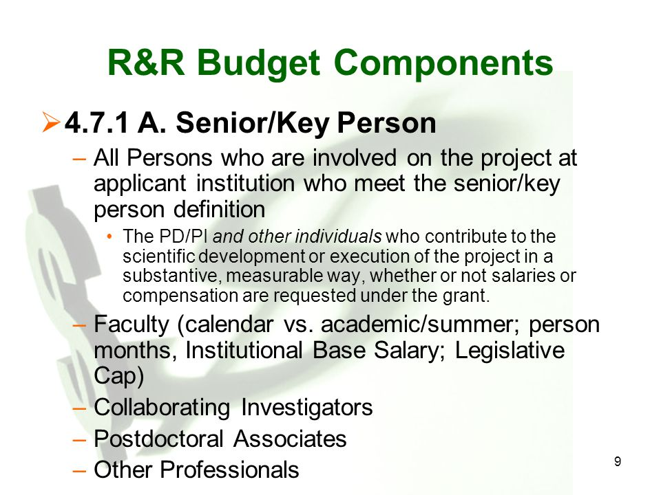 Cost Sharing  Not required as a condition of applying for/receiving unsolicited NIH awards  Few NIH-solicited programs require it  Nonetheless, mandatory cost sharing for salary in excess of current salary cap  Be sure you intend to commit to cost sharing when you propose an item at no cost to the government.