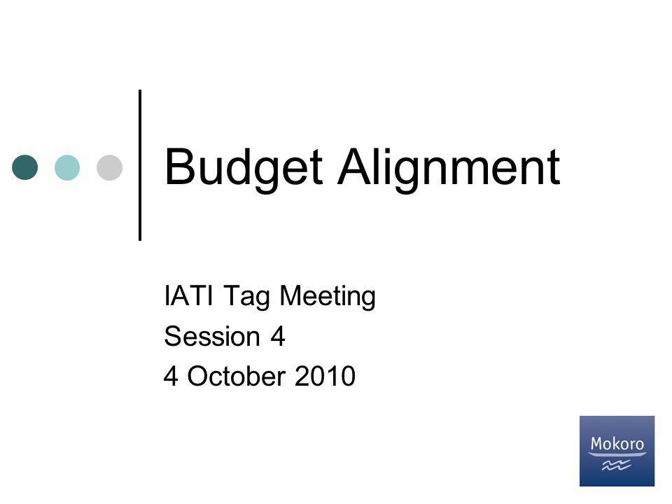 Budget Alignment IATI Tag Meeting Session 4 4 October 2010