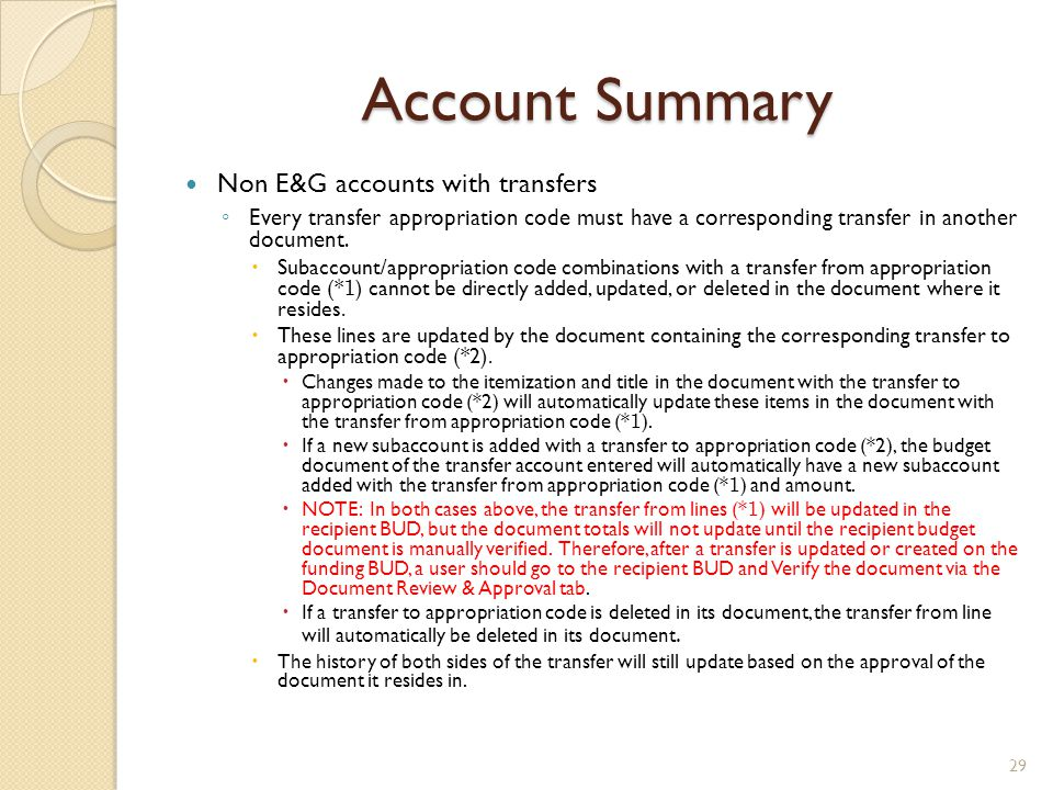 Account Summary Non E&G accounts with transfers ◦ Every transfer appropriation code must have a corresponding transfer in another document.  Subaccou