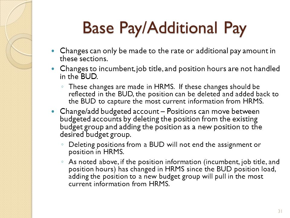Base Pay/Additional Pay Changes can only be made to the rate or additional pay amount in these sections. Changes to incumbent, job title, and position