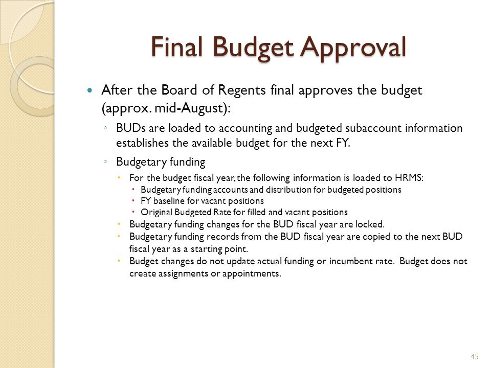 Final Budget Approval After the Board of Regents final approves the budget (approx. mid-August): ◦ BUDs are loaded to accounting and budgeted subaccou