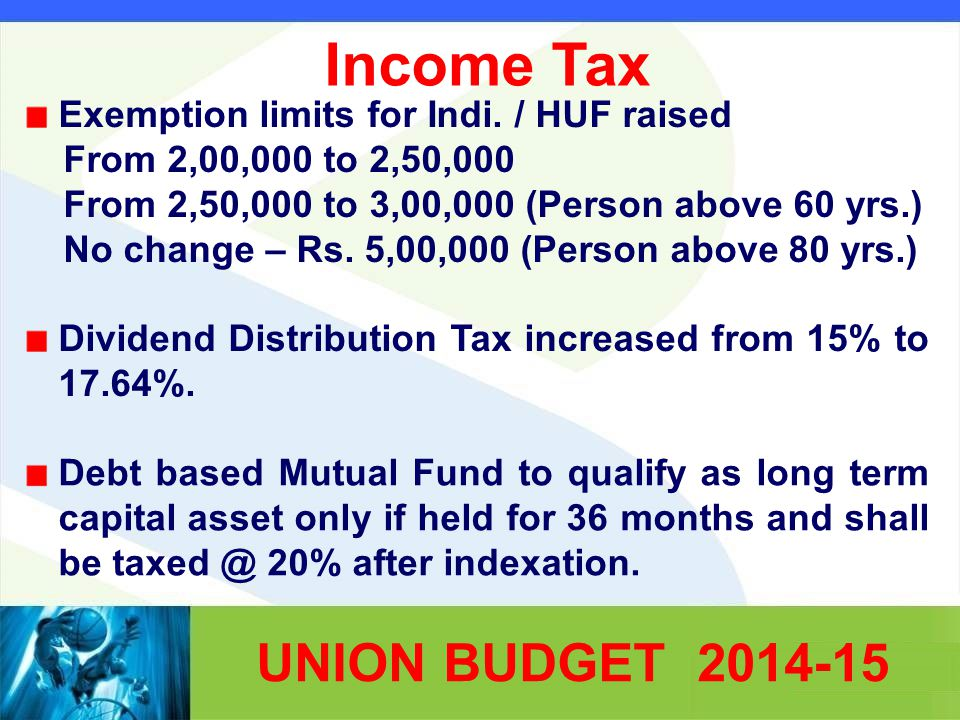Income Tax Exemption limits for Indi.
