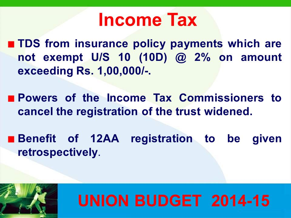Income Tax TDS from insurance policy payments which are not exempt U/S 10 (10D) @ 2% on amount exceeding Rs.