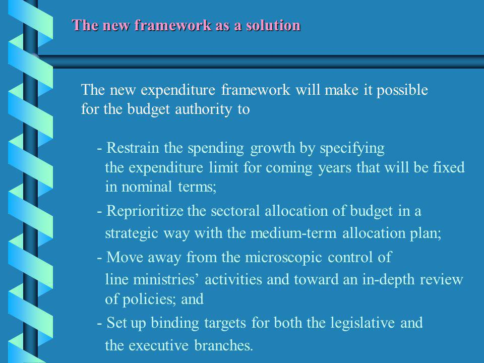 The new expenditure framework will make it possible for the budget authority to - Restrain the spending growth by specifying the expenditure limit for coming years that will be fixed in nominal terms; - Reprioritize the sectoral allocation of budget in a strategic way with the medium-term allocation plan; - Move away from the microscopic control of line ministries' activities and toward an in-depth review of policies; and - Set up binding targets for both the legislative and the executive branches.