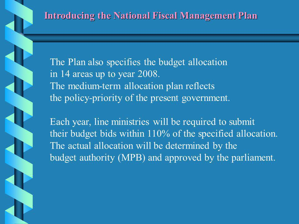 The Plan also specifies the budget allocation in 14 areas up to year 2008.
