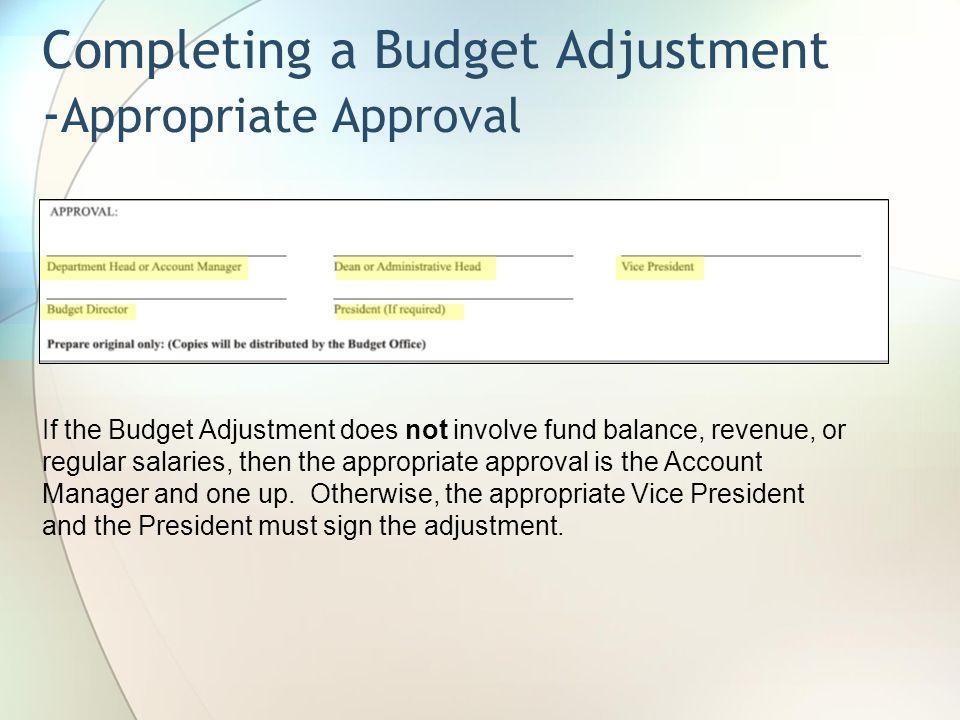 Completing a Budget Adjustment