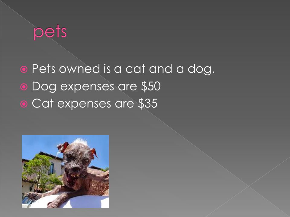  Pets owned is a cat and a dog.  Dog expenses are $50  Cat expenses are $35