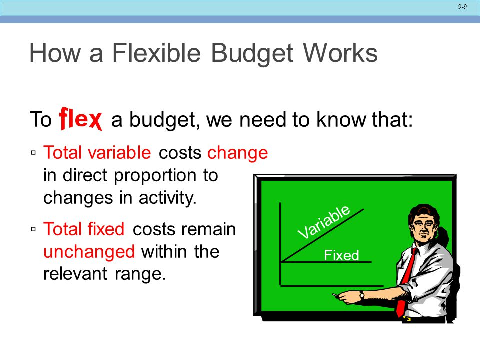 9-9 How a Flexible Budget Works To a budget, we need to know that: ▫ Total variable costs change in direct proportion to changes in activity.