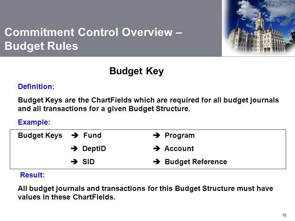 16 Definition: Budget Keys are the ChartFields which are required for all budget journals and all transactions for a given Budget Structure.