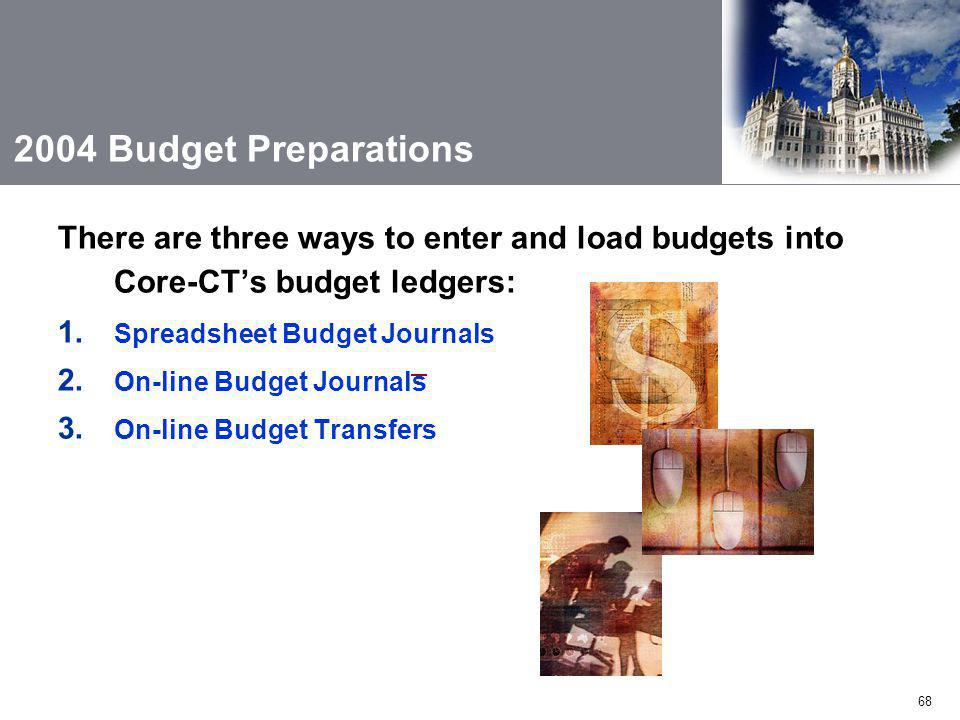68 2004 Budget Preparations There are three ways to enter and load budgets into Core-CT's budget ledgers: 1.