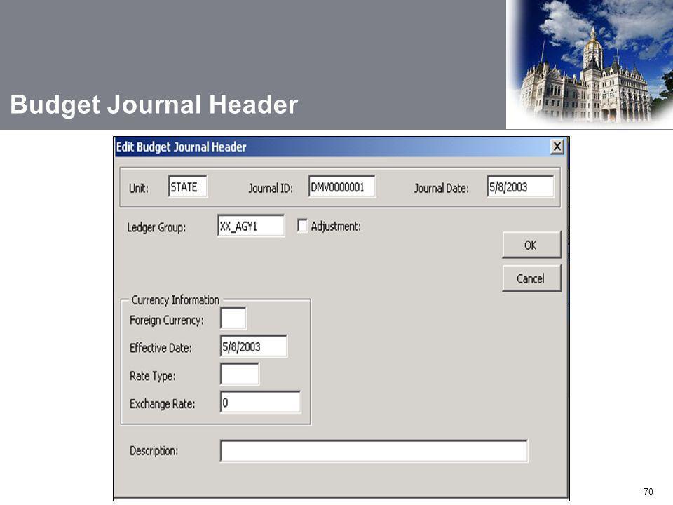 70 Budget Journal Header