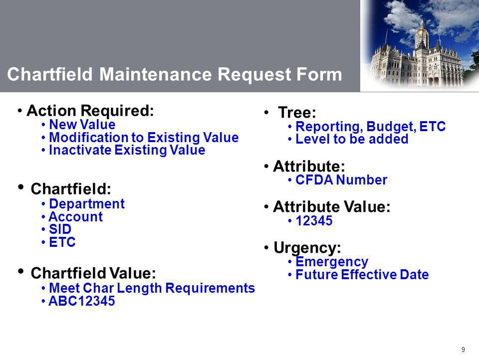9 Chartfield Maintenance Request Form Action Required: New Value Modification to Existing Value Inactivate Existing Value Chartfield: Department Account SID ETC Chartfield Value: Meet Char Length Requirements ABC12345 Tree: Reporting, Budget, ETC Level to be added Attribute: CFDA Number Attribute Value: 12345 Urgency: Emergency Future Effective Date