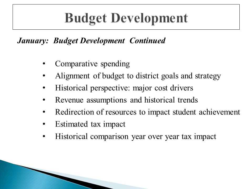 January: Budget Development Continued Comparative spending Alignment of budget to district goals and strategy Historical perspective: major cost drivers Revenue assumptions and historical trends Redirection of resources to impact student achievement Estimated tax impact Historical comparison year over year tax impact