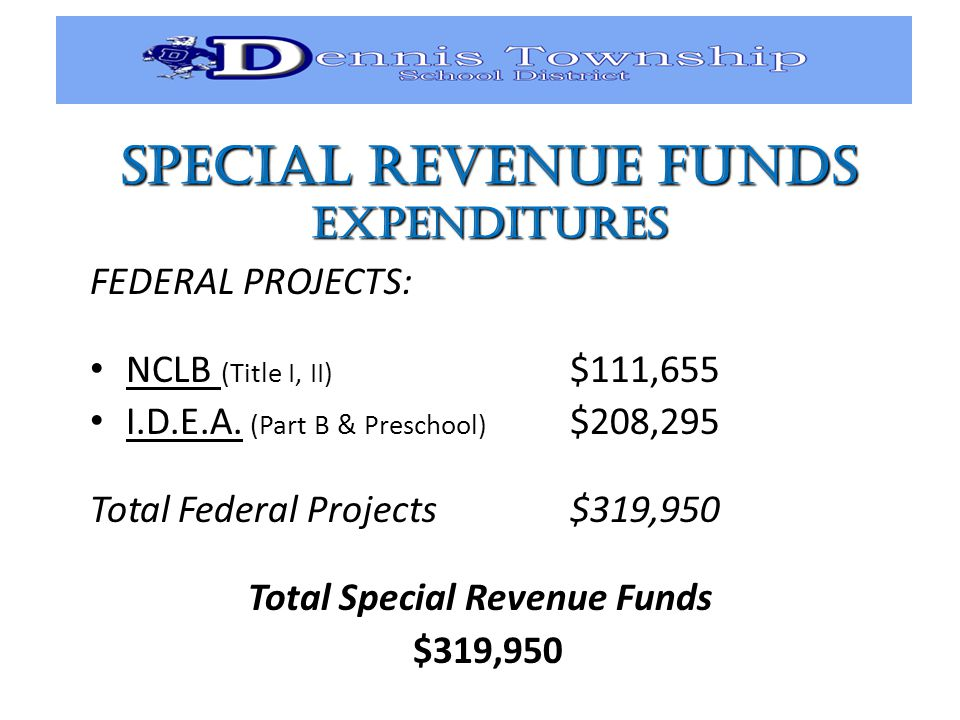SPECIAL REVENUE FUNDS EXPENDITURES FEDERAL PROJECTS: NCLB (Title I, II) $111,655 I.D.E.A.