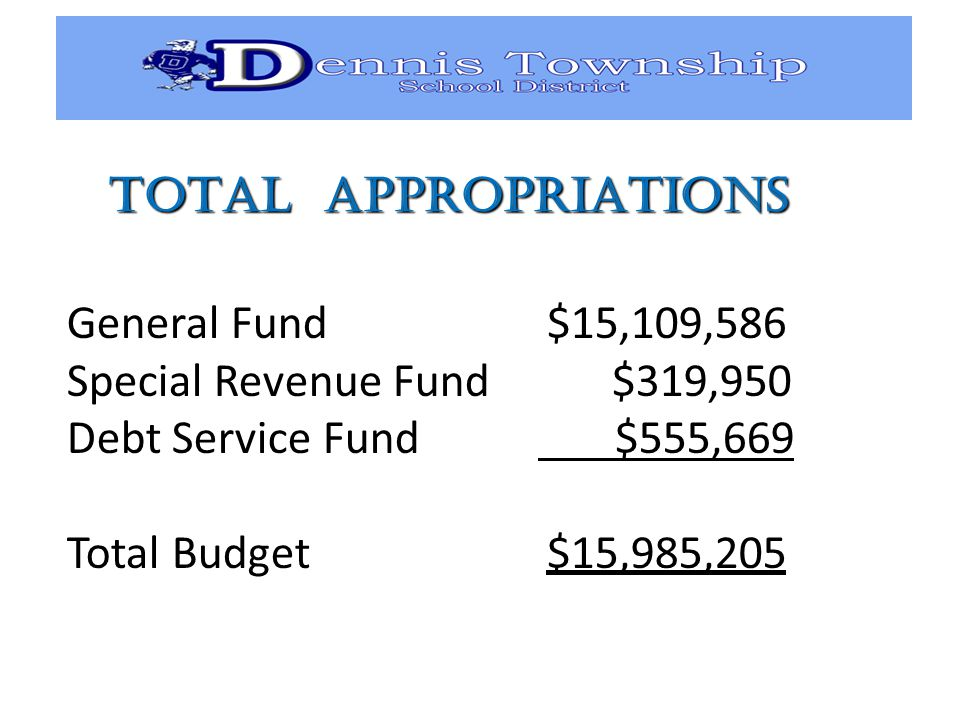 TOTAL APPROPRIATIONS General Fund $15,109,586 Special Revenue Fund $319,950 Debt Service Fund $555,669 Total Budget $15,985,205