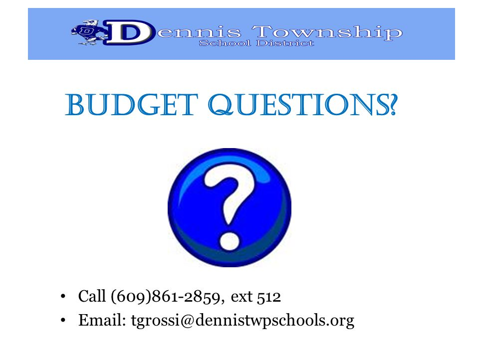 Budget Questions Call (609) , ext