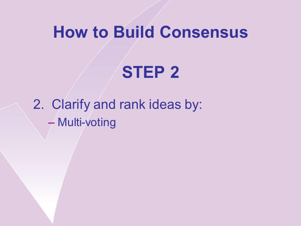 How to Build Consensus STEP 2 2. Clarify and rank ideas by: –Multi-voting