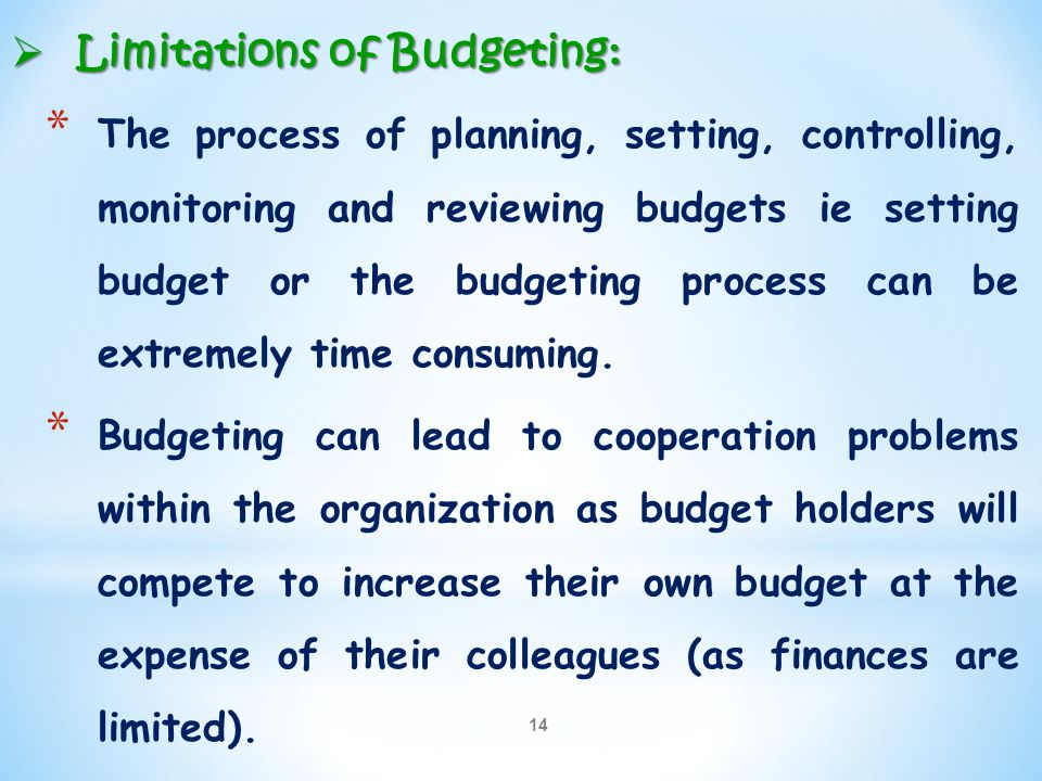 14  Limitations of Budgeting: * The process of planning, setting, controlling, monitoring and reviewing budgets ie setting budget or the budgeting pr