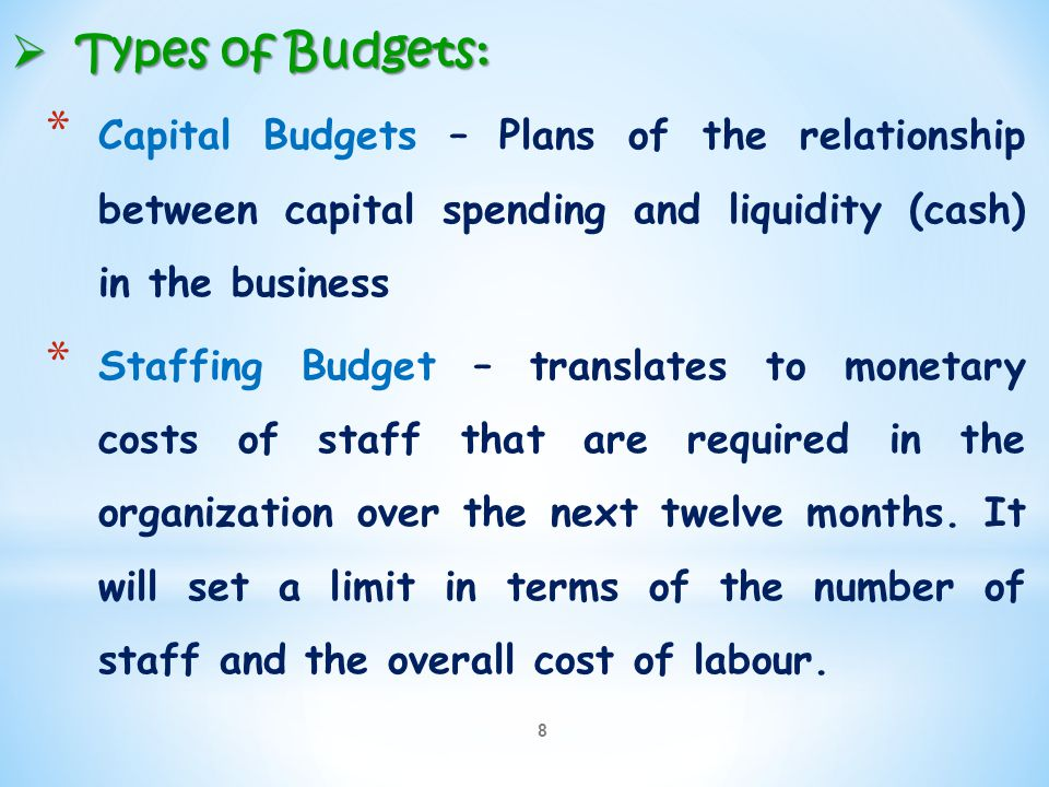 8  Types of Budgets: * Capital Budgets – Plans of the relationship between capital spending and liquidity (cash) in the business * Staffing Budget –
