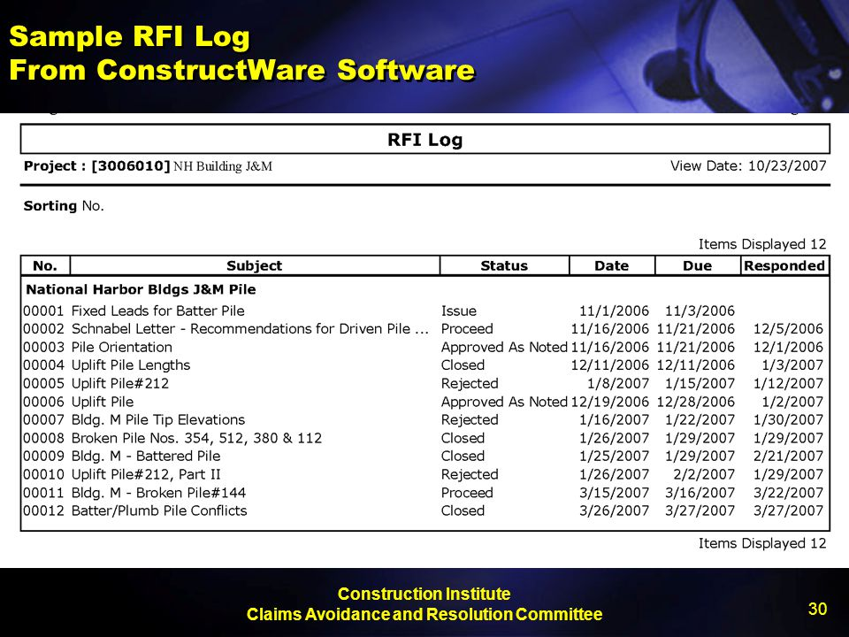 Construction Institute Claims Avoidance and Resolution Committee 30 Sample RFI Log From ConstructWare Software