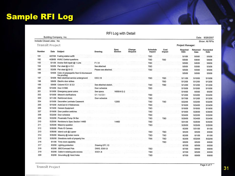 Construction Institute Claims Avoidance and Resolution Committee 31 Sample RFI Log Transit Project