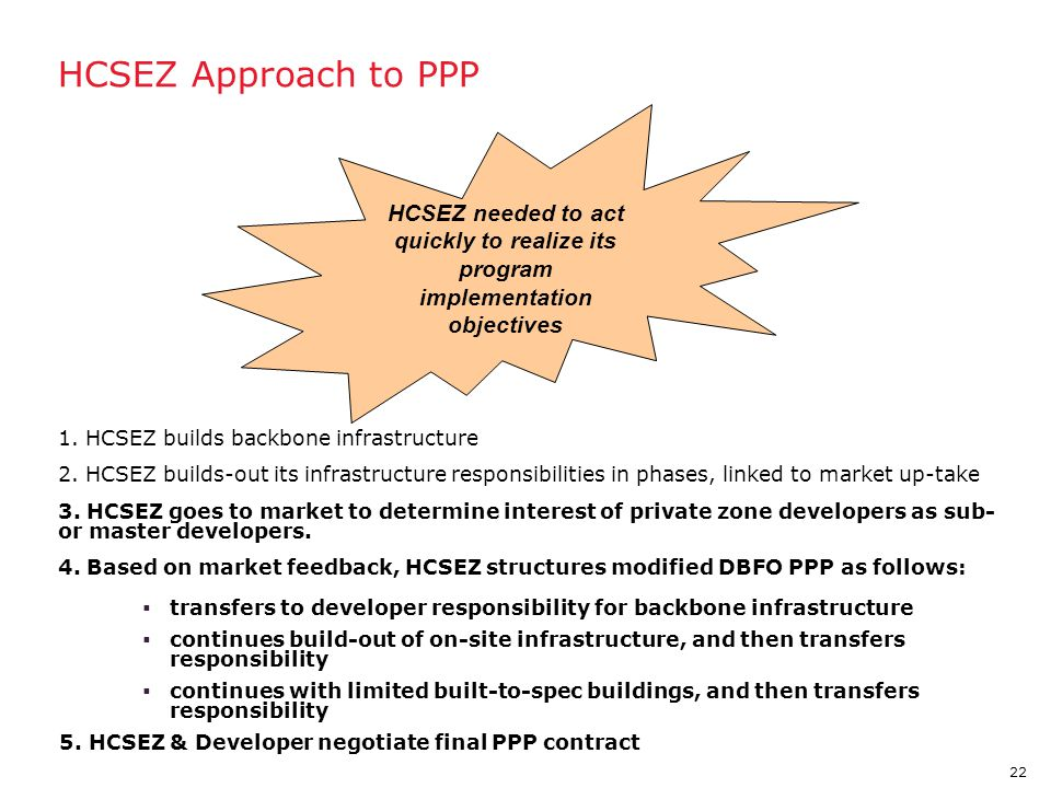22 HCSEZ Approach to PPP 1. HCSEZ builds backbone infrastructure 2. HCSEZ builds-out its infrastructure responsibilities in phases, linked to market u