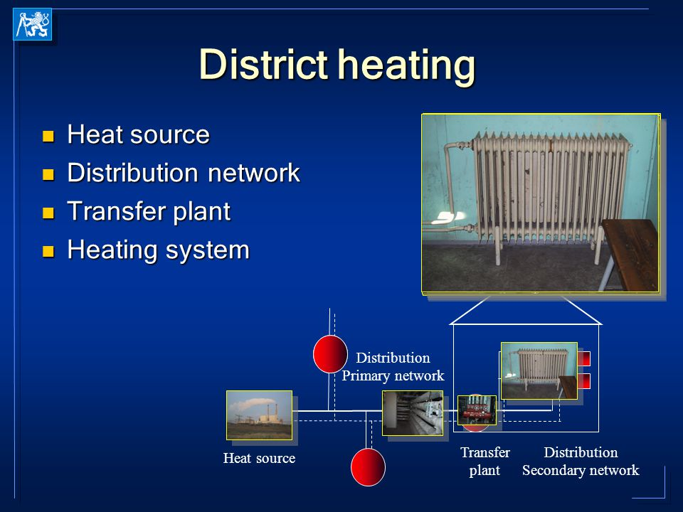 District heating Heat source Heat source Distribution network Distribution network Transfer plant Transfer plant Heating system Heating system Heat source Distribution Primary network Distribution Secondary network Transfer plant