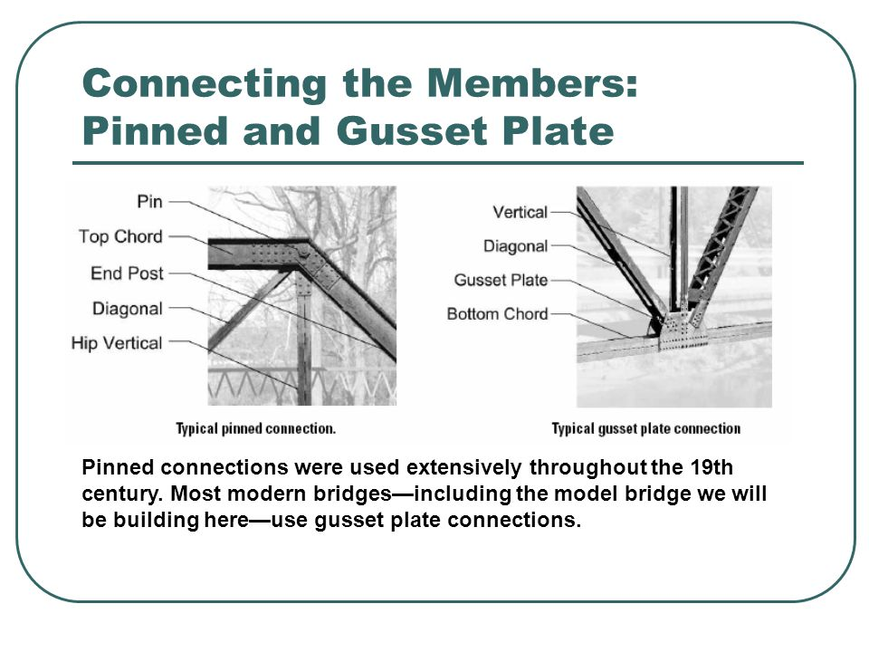 Connecting the Members: Pinned and Gusset Plate Pinned connections were used extensively throughout the 19th century. Most modern bridges—including th