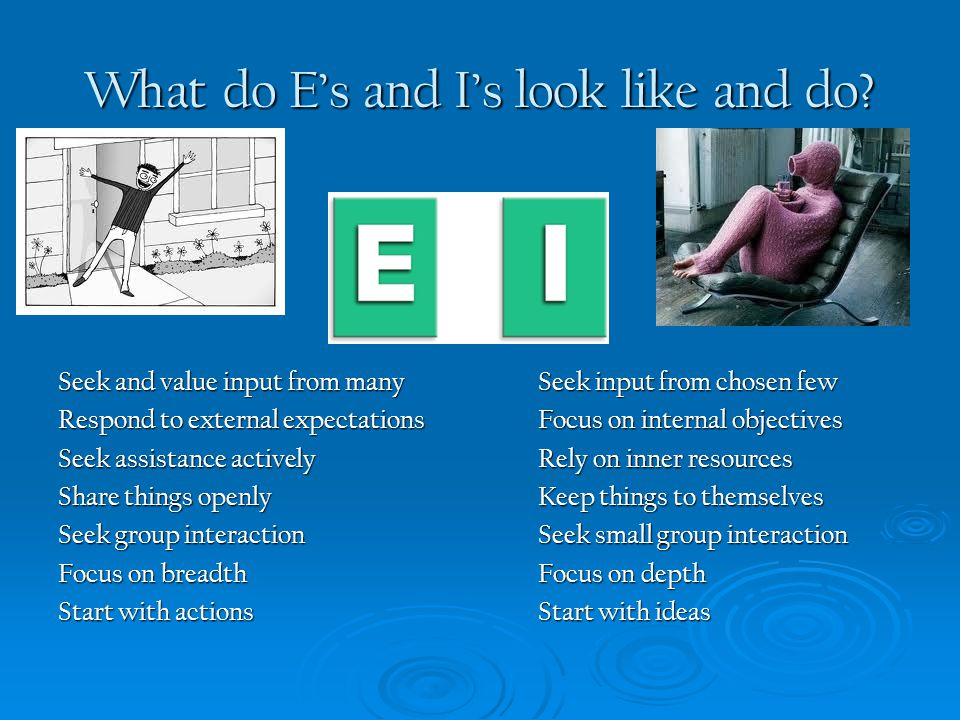 What do E's and I's look like and do? Seek and value input from manySeek input from chosen few Respond to external expectations Focus on internal obje