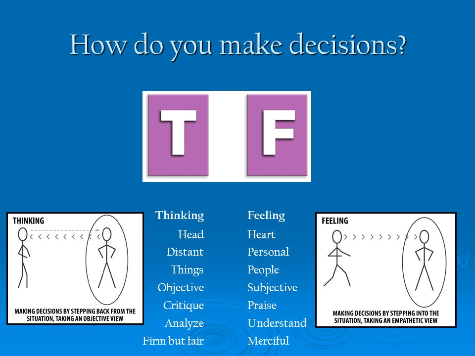How do you make decisions? Thinking Head Distant Things Objective Critique Analyze Firm but fair Feeling Heart Personal People Subjective Praise Under