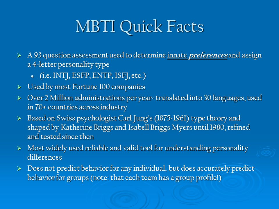 MBTI Objectives - Creating Team Chemistry-  Enhance self-understanding for coaches and players Natural strengths and blind spots Natural strengths and blind spots Potential areas for growth Potential areas for growth Motivations and communication patterns Motivations and communication patterns Distress signals and how stress affects you Distress signals and how stress affects you  Understand and appreciate (rather than just tolerate) diversity Reduce tension & judgment, increase empathy and effective communication among team members and coaches Reduce tension & judgment, increase empathy and effective communication among team members and coaches Embrace, utilize, and leverage different preferences to complete tasks, achieve goals, and confront adversity Embrace, utilize, and leverage different preferences to complete tasks, achieve goals, and confront adversity  Increase range and scope of communication MBTI creates a framework and language for continued development in a team context and life long personal context MBTI creates a framework and language for continued development in a team context and life long personal context