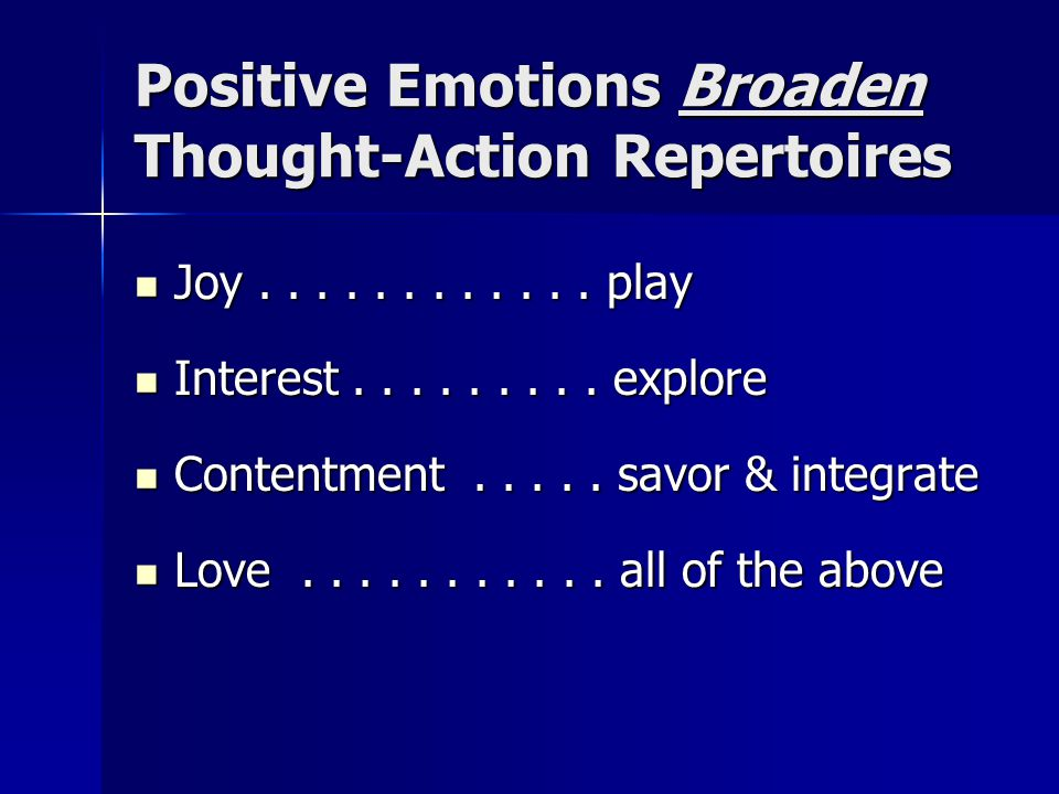 Positive Emotions Build Durable Personal Resources Physical resources Physical resources Social resources Social resources Intellectual resources Intellectual resources Psychological resources Psychological resources