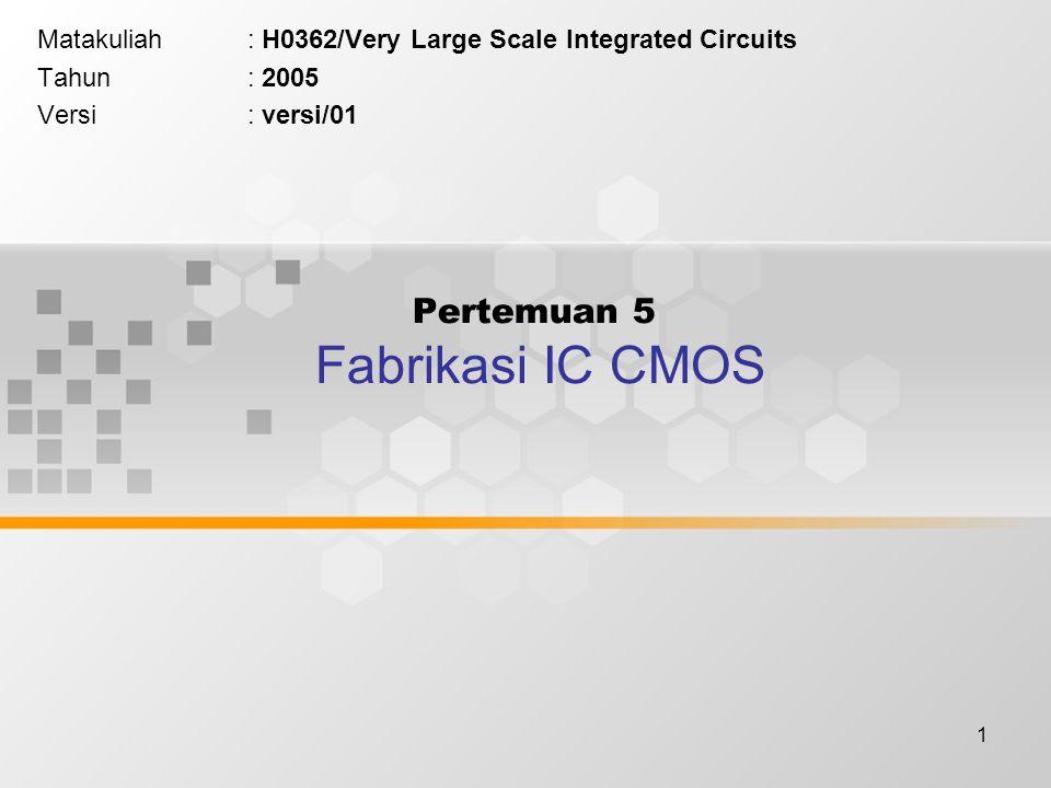 1 Pertemuan 5 Fabrikasi IC CMOS Matakuliah: H0362/Very Large Scale Integrated Circuits Tahun: 2005 Versi: versi/01