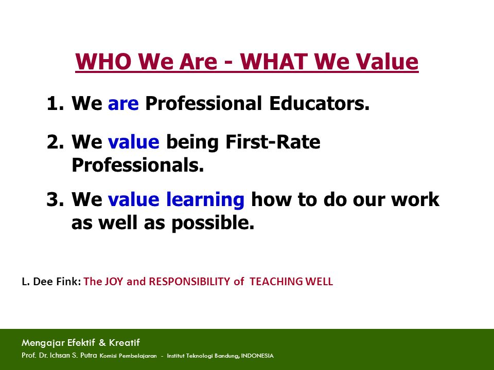 FACULTY as PROFESSIONAL EDUCATORS : What would that mean.