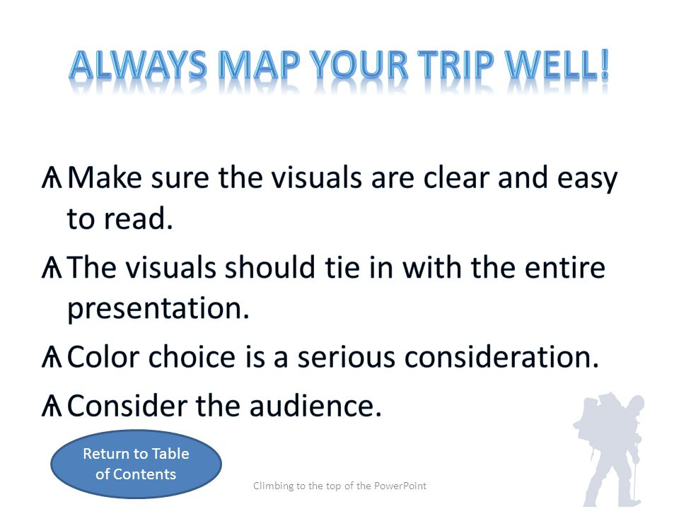 Table of Contents Climbing to the top of the PowerPoint Select a theme Add animation Insert a picture Speaker Notes Embed Video Insert a Graph Map your trip Play sound Height climbed Insert table Apply transitions Climbing Tips Research online Embed sound Reaching the Peak