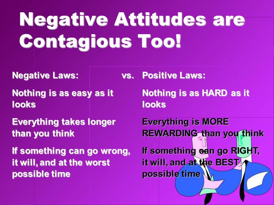 Negative Attitudes are Contagious Too.Negative Laws:vs.