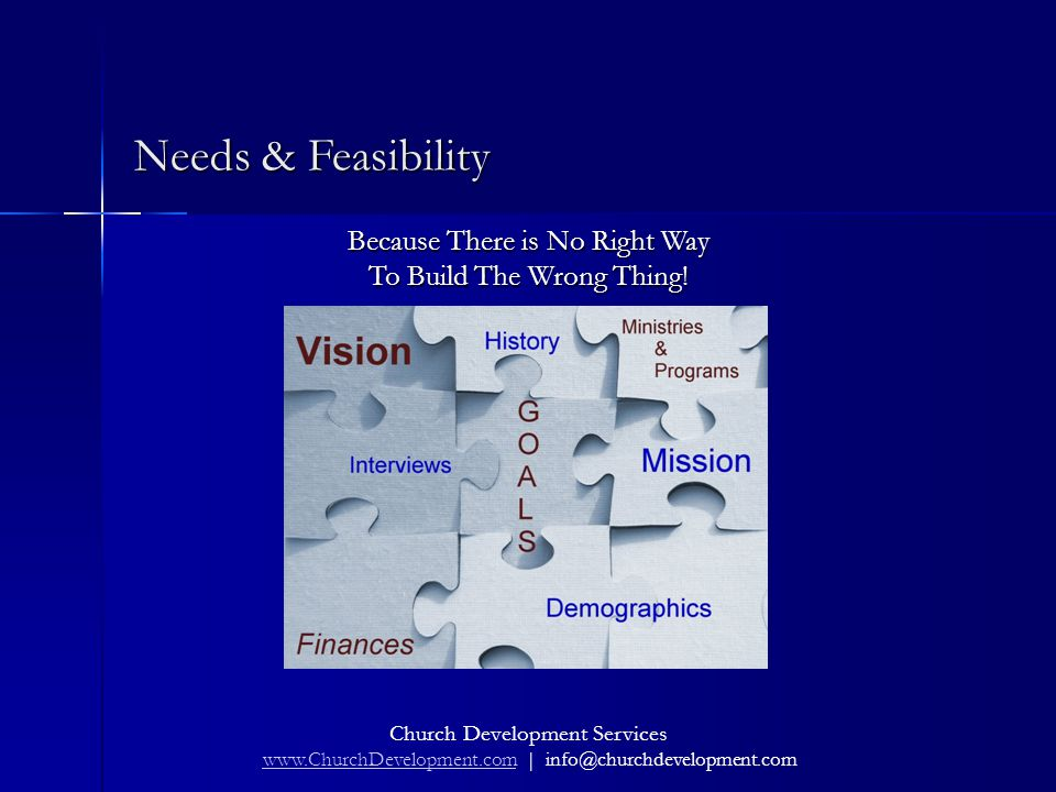 Church Development Services www.ChurchDevelopment.com | info@churchdevelopment.com www.ChurchDevelopment.com Needs & Feasibility Because There is No Right Way To Build The Wrong Thing!