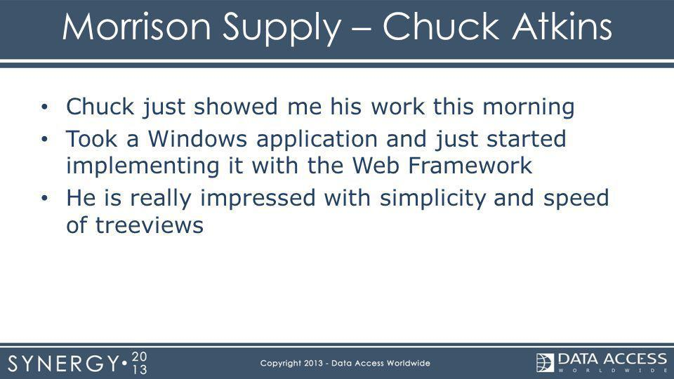 Morrison Supply – Chuck Atkins Chuck just showed me his work this morning Took a Windows application and just started implementing it with the Web Framework He is really impressed with simplicity and speed of treeviews
