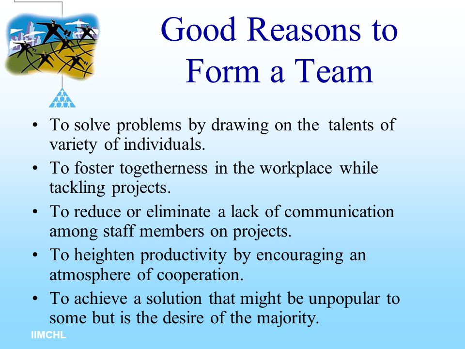 IIMCHL Traditional Work Groups Teams Emphasis on individual performances Emphasis on team performances Workers compete against each other Team members